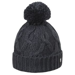 Cable Cuff Pom Hat - Black - Fleece Lined