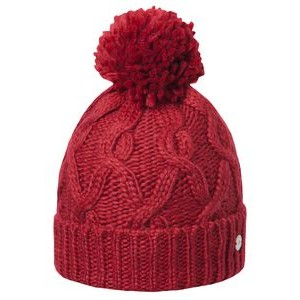 Cable Cuff Pom Hat - Dark Red - Fleece Lined