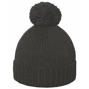 Chunky Knit Pom Beanie with Cuff - Black - Fleece Lined