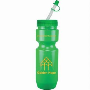22 Oz. Bike Bottle w/ Straw Tip Lid - Solid Colors